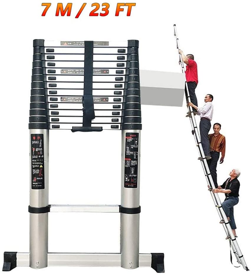 YXX- 7m/23Ft Tallest Telescopic Extension Ladders with Stabilizer Bar, Aluminum Telescoping Ladder for Outdoor Emergency Use