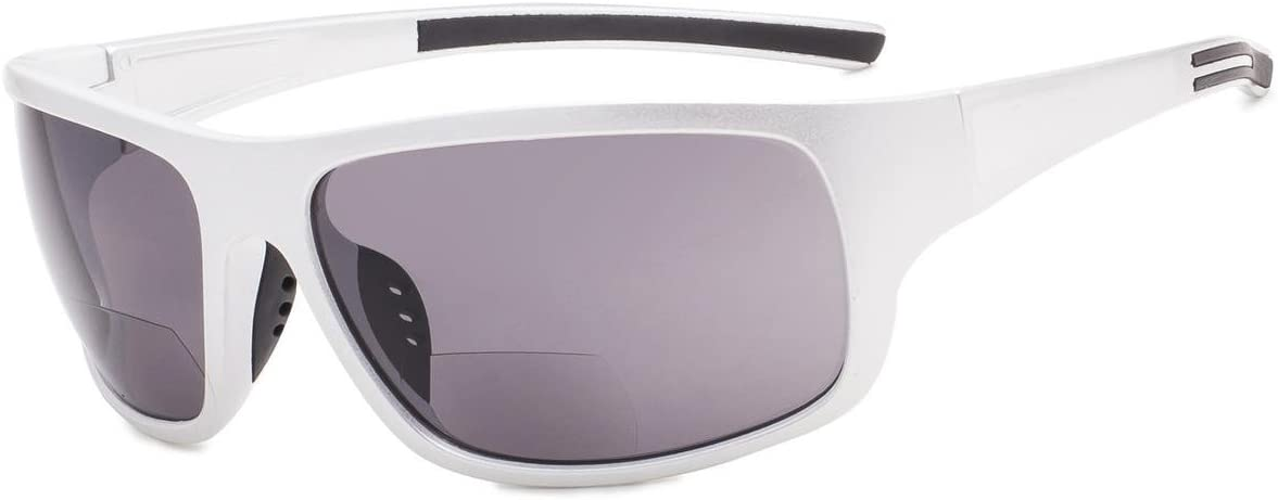 Eyekepper Bifocal Sunglasses +2.50 Strength Reading Sunglasses (Shiny Silver Frame/Grey Lens)