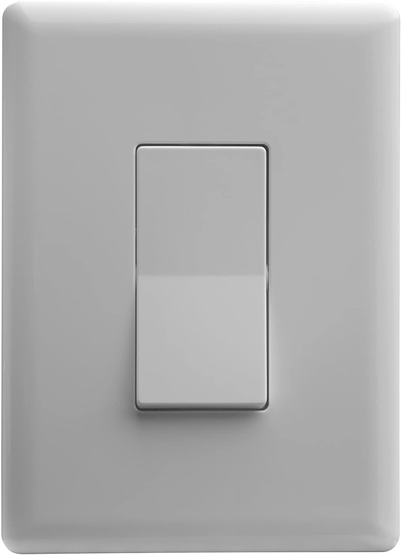 Home Automation Lighting, ZWAVE Plus Smart Switch by Ecolink, Lighting Control, White Single Rocker Style Light Switch Design (PN - SDLS2-ZWAVE5)
