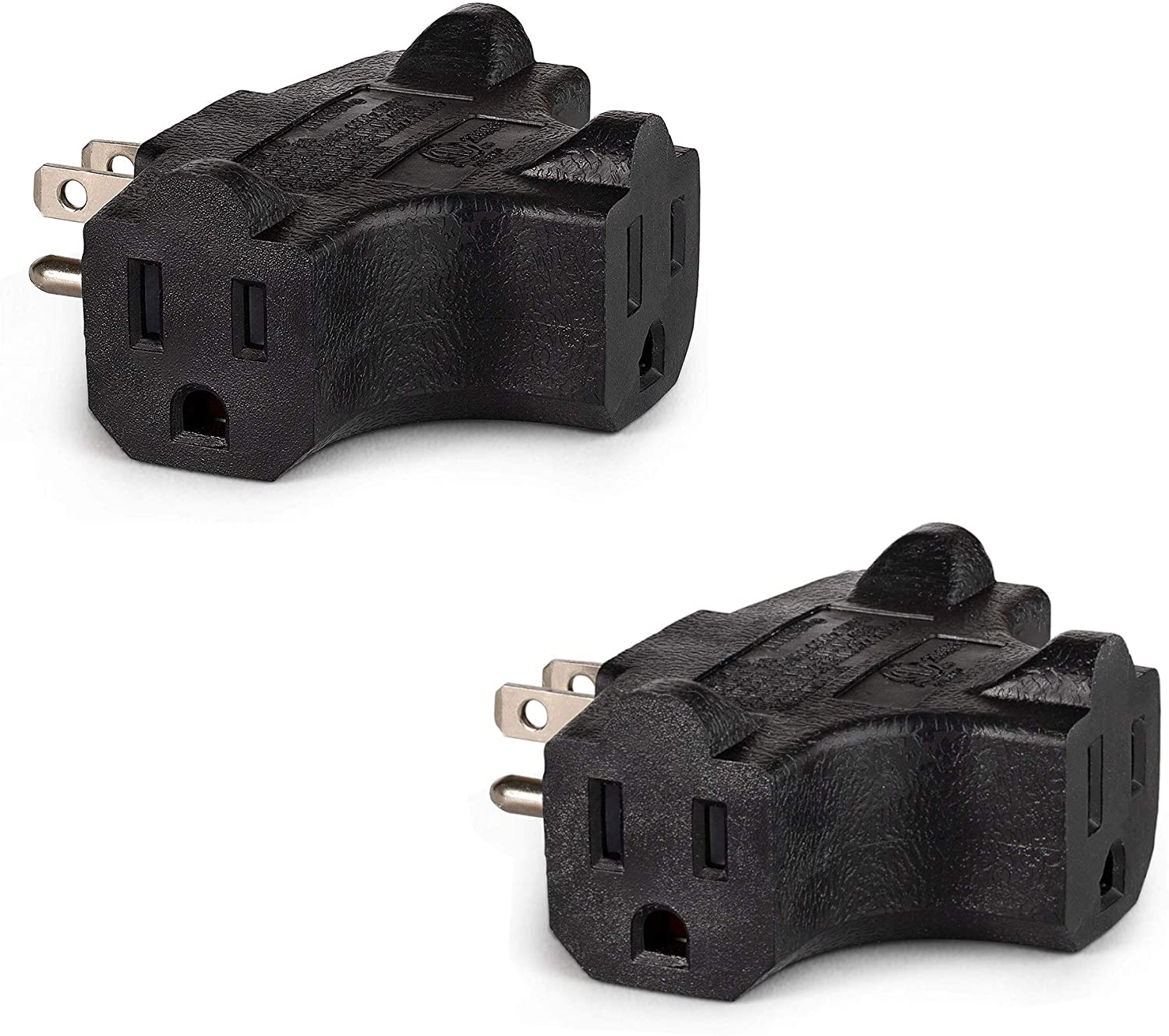 Maxlin Cable 3-Outlet Wall Adapter (T-shaped), Plug Extender; Heavy Duty Grounded Power Tap [ETL Listed] Black - 2 Pack