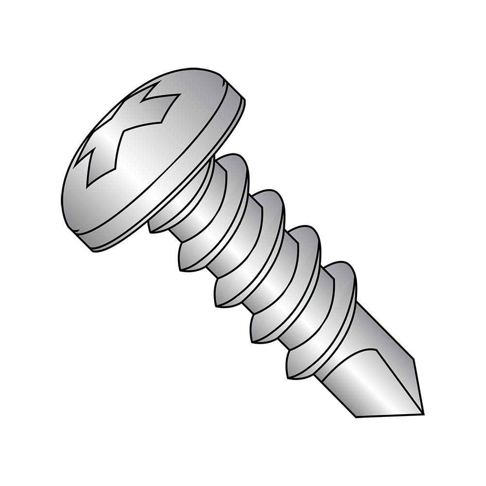 18-8 Stainless Steel Self-Drilling Screw, Plain Finish, Pan Head, Phillips Drive, #3 Drill Point, #10-16 Thread Size, 3