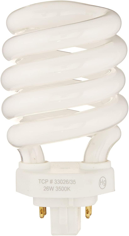 TCP 3302635K Fluorescent SpringLamp CFL - 100 Watt Equivalent (only 26w Used) Bright White (3500K) Spiral Light Bulb - PL 4-pin (G24Q-3) Base