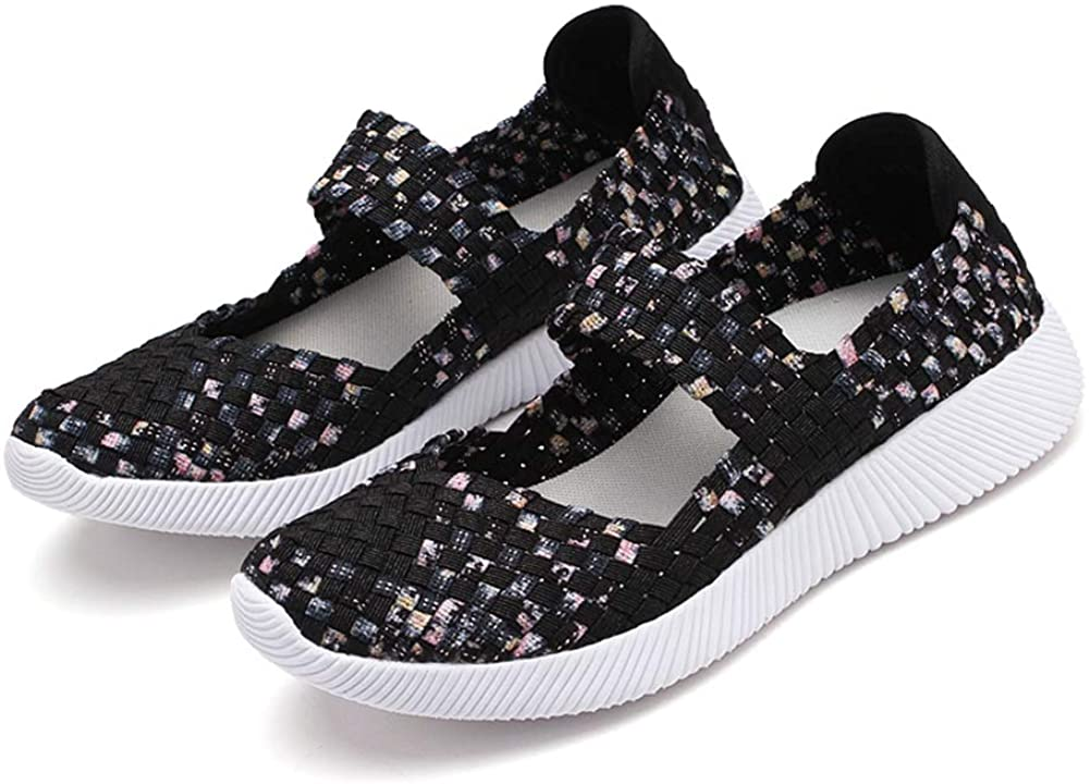Liadance Women Slip On Loafers Braided Breathable Casual Flats Lightweight Elastic Trainers Sport Water Shoes