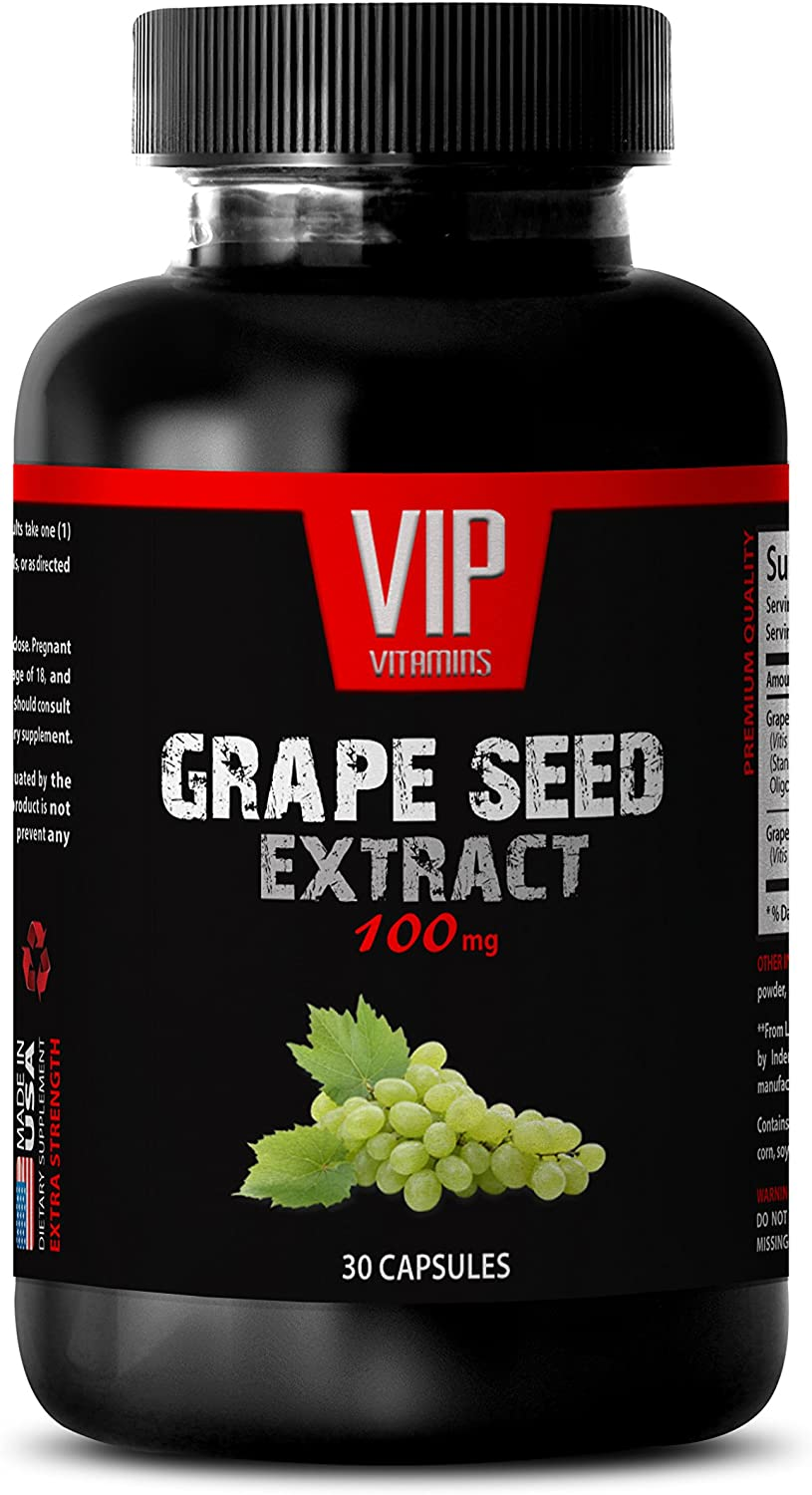 Brain and Memory Vitamins - Grape Seed Extract 100 MG - Grape Seed Extract Bulk Supplements - 1 Bottle 30 Capsules