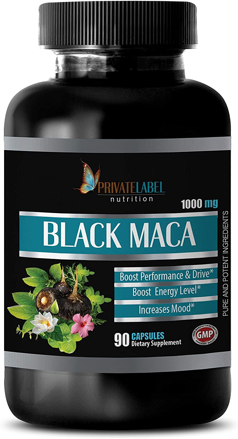 Male Energy Supplements - Black MACA 1000MG - Pure and Potent Ingredients - Black maca gelatinized Capsules - 1 Bottle 90 Vegetable Capsules