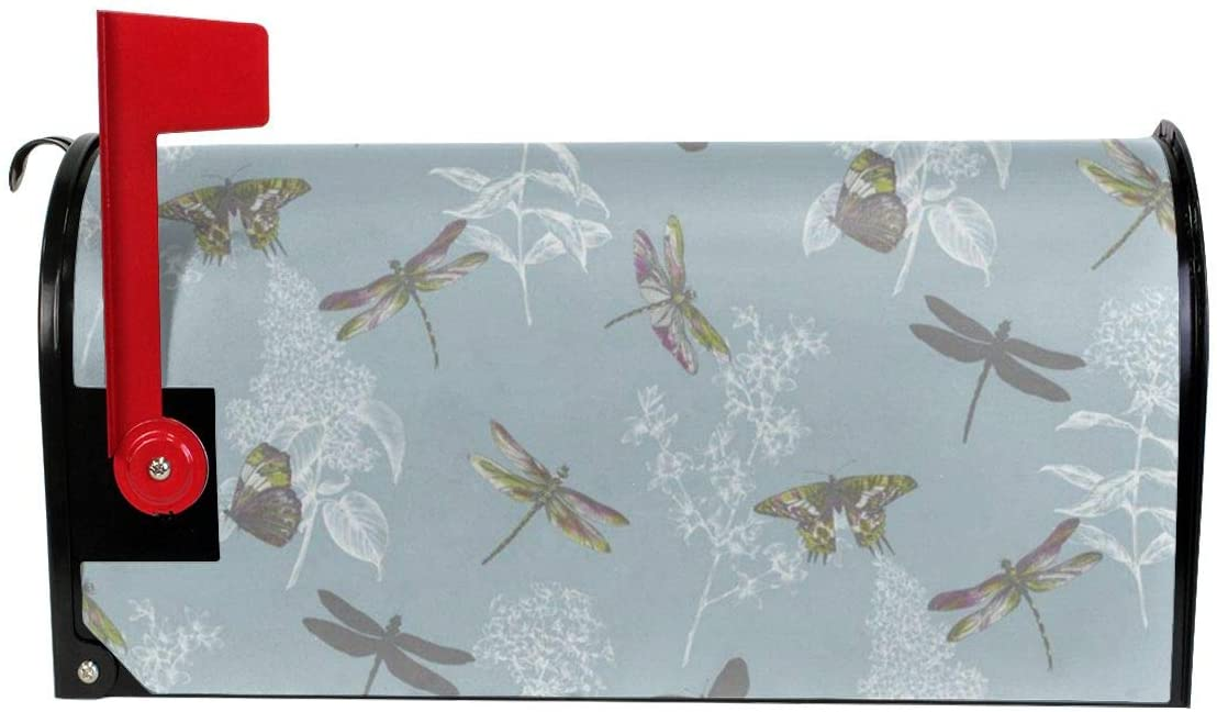 KLQ Butterfly Dragonfly Mailbox Cover Mailbox Wraps Post Letter Box Cover