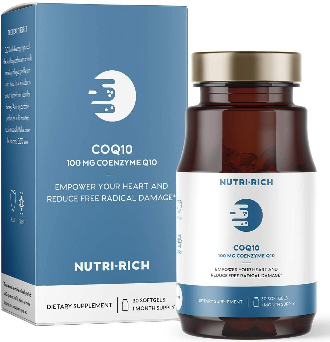 CoQ10 by Nutri-Rich -�HIGH Potency 100mg coenzyme Q10, Antioxidant for Heart Health & Cellular Energy, Naturally Fermented, for Aging & Statin Usage (30 Softgels)