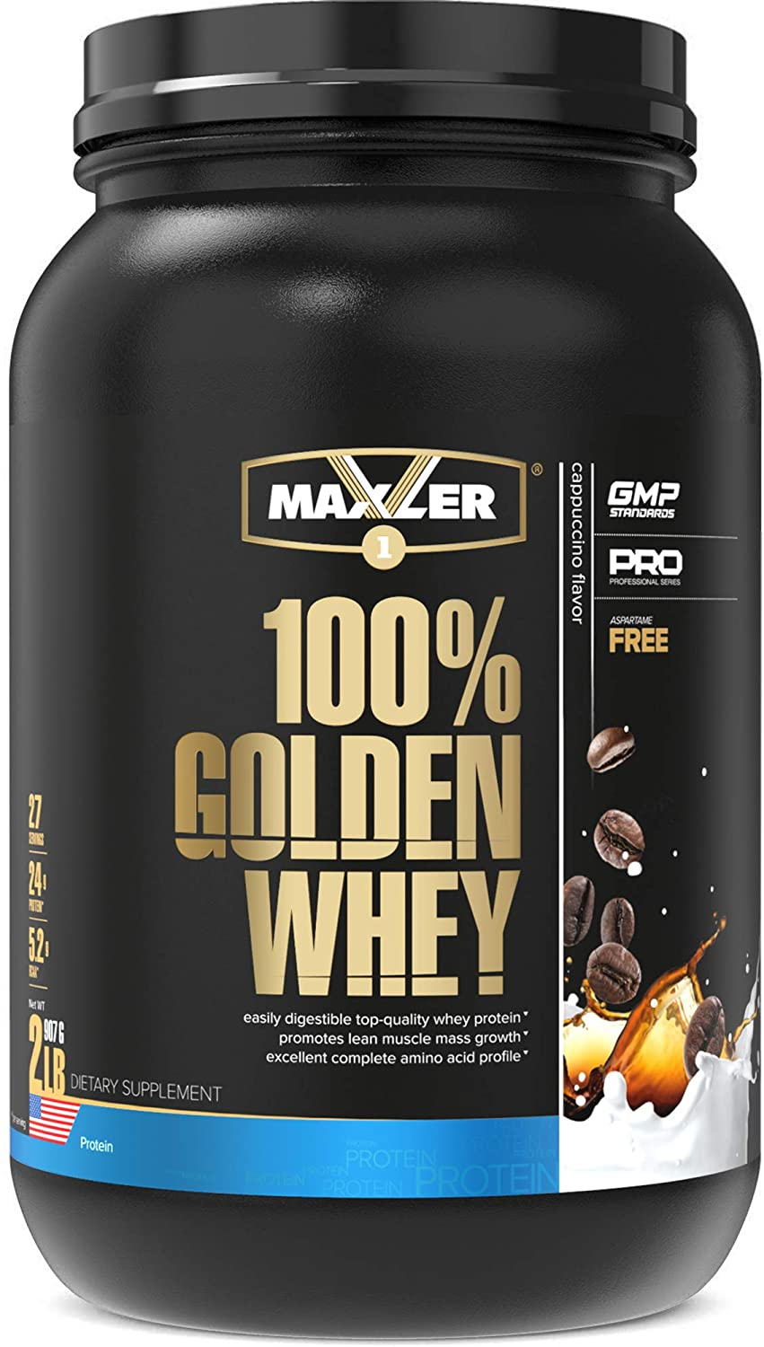 Maxler 100% Golden Whey Protein - 24g of Premium Whey Protein Powder per Serving - Pre, Post & Intra Workout Recovery - Fast-Absorbing Whey Hydrolysate, Isolate & Concentrate Blend - Cappuccino 2 lbs