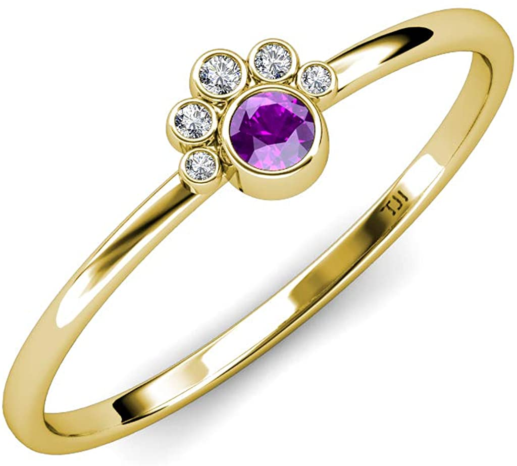 TriJewels Round Amethyst and Diamond 1/8 ctw Womens Paw Print Promise Ring 14K Yellow Gold