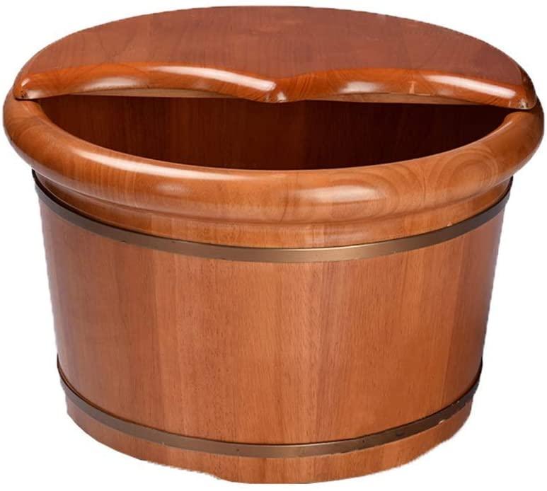 HTLLT Foot Massage Barrel Sauna Wooden Bucket,Spa, Sauna,Soak Footbath Basin,Handmade Massage Bucket Foot Bath,Foot Spa Wash Bucket Feet Bath Basin Tub,a