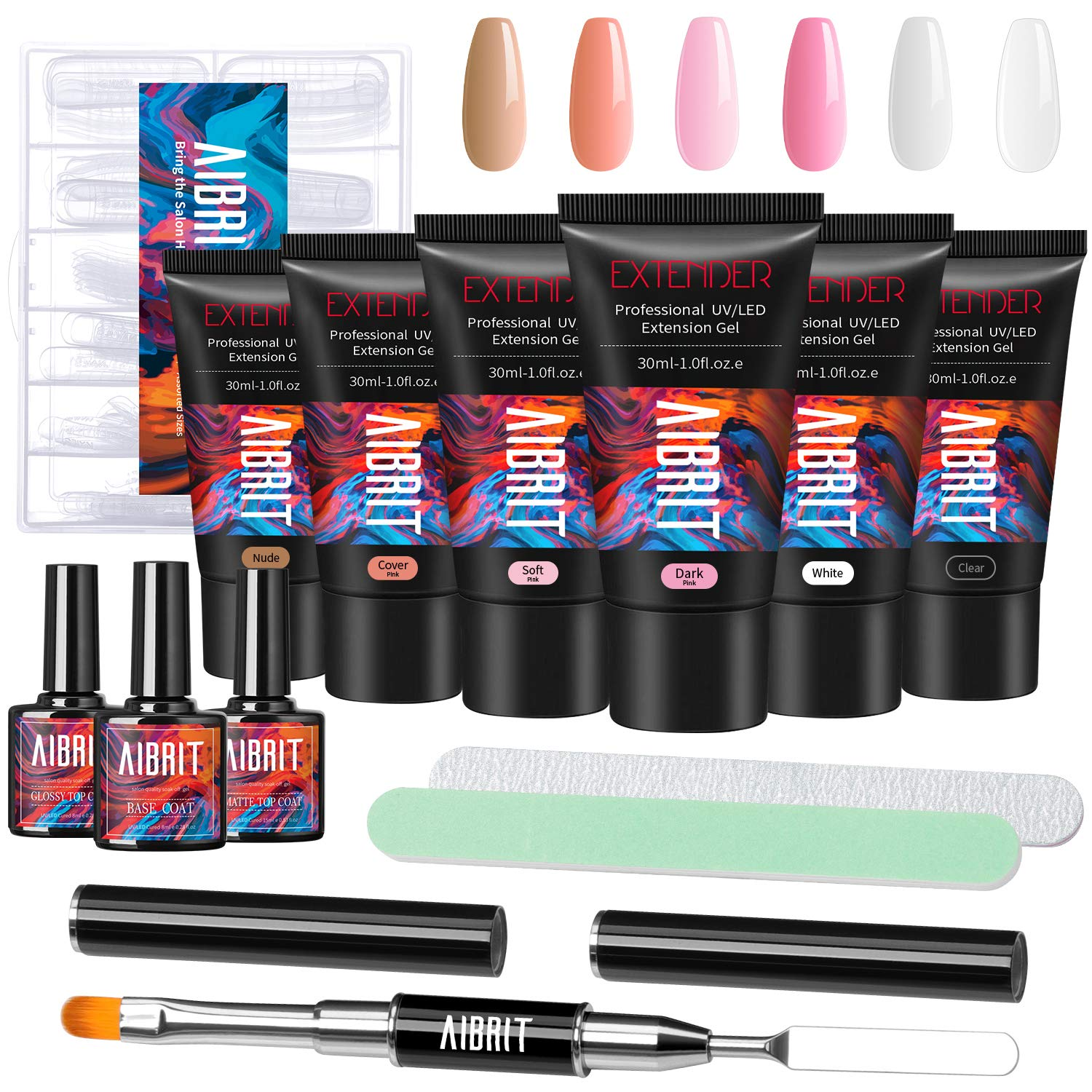 Poly Extension Nail Gel Kit, Aibrit 6 Colors 30ML Builder Gel with No Wipe Base and Glossy/Matte Top Coat, Nail Files, Brush, 120 Fake Nails for Nail Extension Design