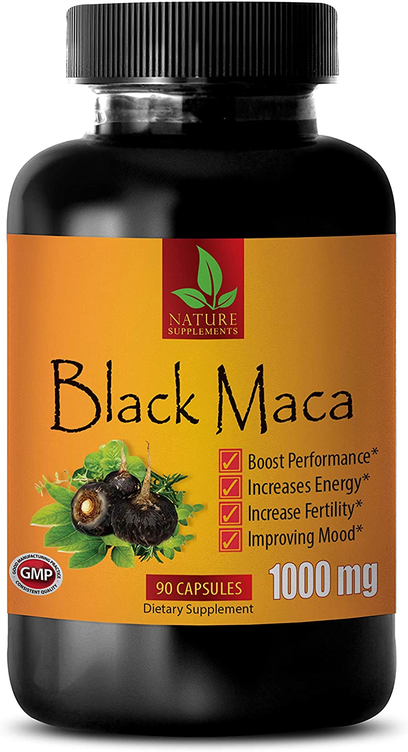 Energy Booster Supplements - Black MACA 1000 MG - Dietary Supplement - Black maca Extract Capsules - 1 Bottle 90 Capsules