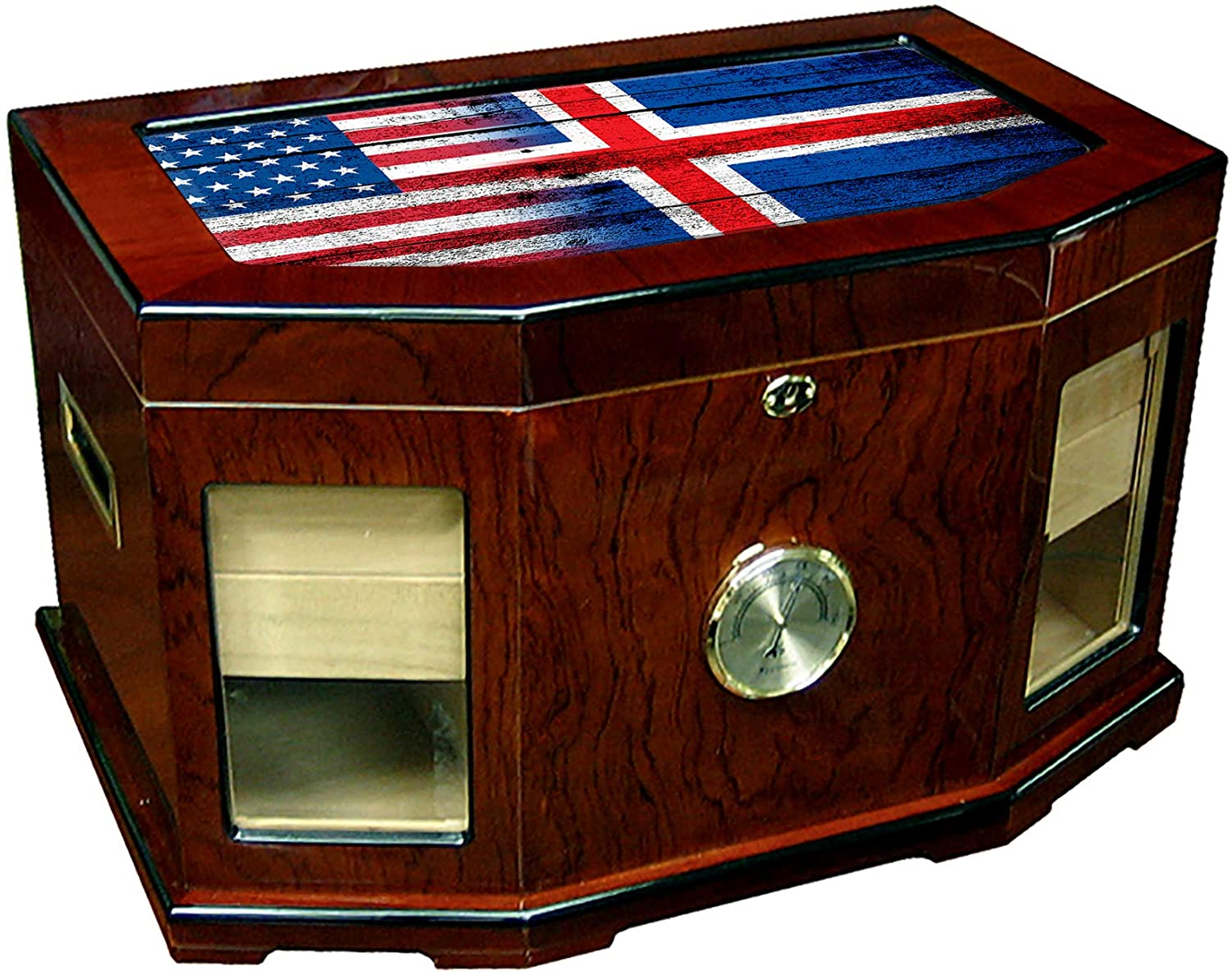 Large Premium Desktop Humidor - Glass Top - Flag of Iceland (Icelander) - Wood with USA Flag - 300 Cigar Capacity - Cedar Lined with Two humidifiers & Large Front Mounted Hygrometer.
