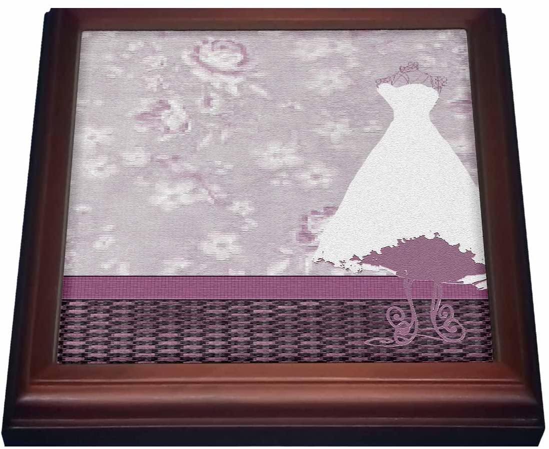 3dRose trv_108453_1 Dress on Form in Room, Plum Roses on Wallpaper Trivet with Ceramic Tile, 8 by 8