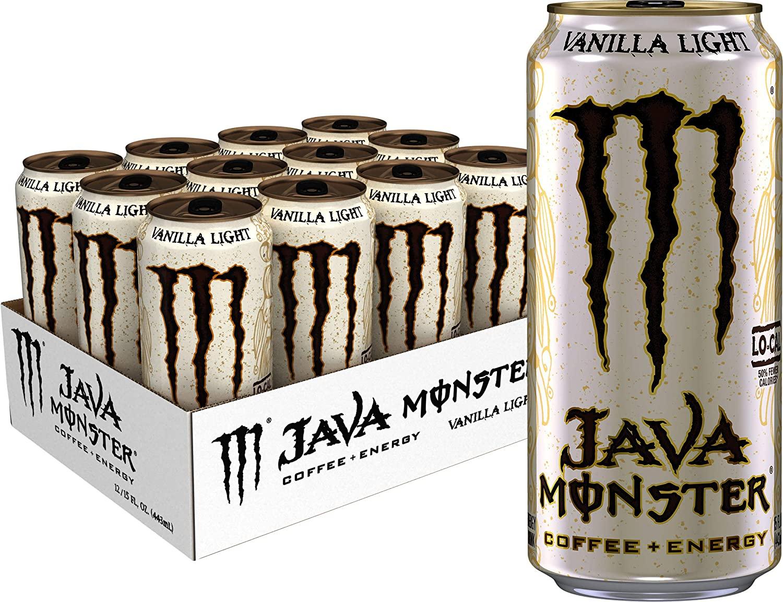 Monster Energy Java Monster Vanilla Light, Coffee + Energy Drink, 15 Ounce (Pack of 12)