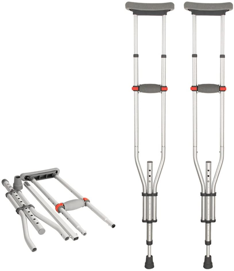 GFYWZZ Foldable Underarm Crutches,Aluminium Lightweight Adjustable Axilla Under Arm Crutches for Disabled People Elderly Mobility Accessories