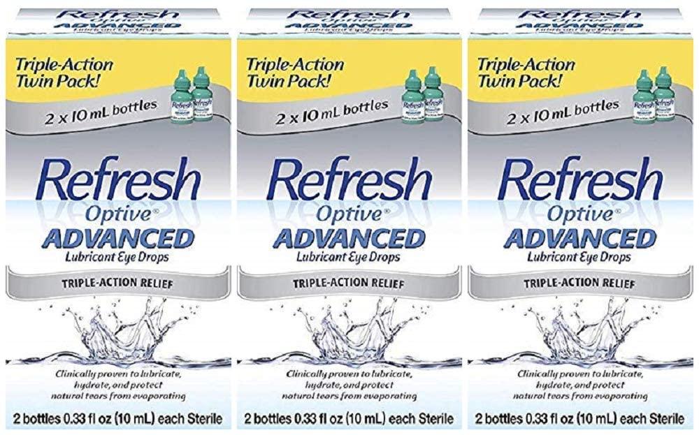 Refresh Optive Advanced Lubricant Eye Drops - 0.66 oz, (3 X Twin Packs)