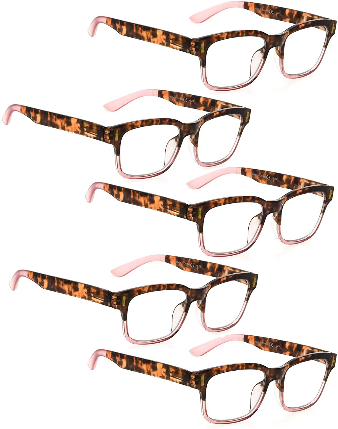Reading Glasses 5 Pack Fashion Readers for Women (Tortoise Pink, 1.75)