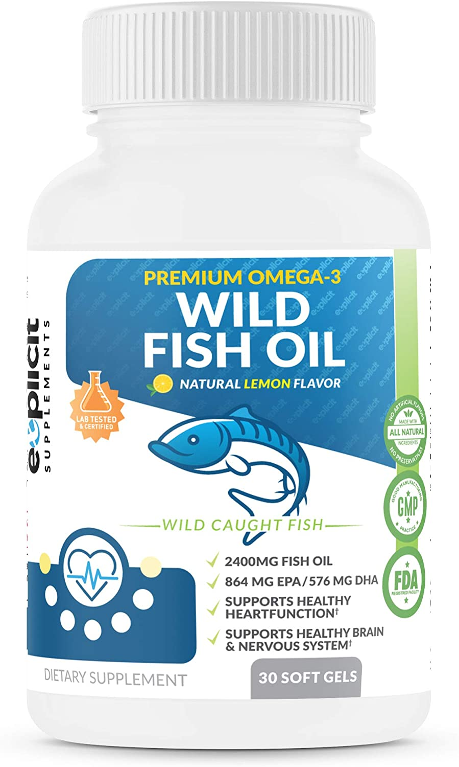 Wild Fish Oil Omega 3 2400mg - EPA/DHA - Burpless, Lemon Flavored Non-GMO, Gluten & Soy Free – 1 Month - eXplicit Supplements