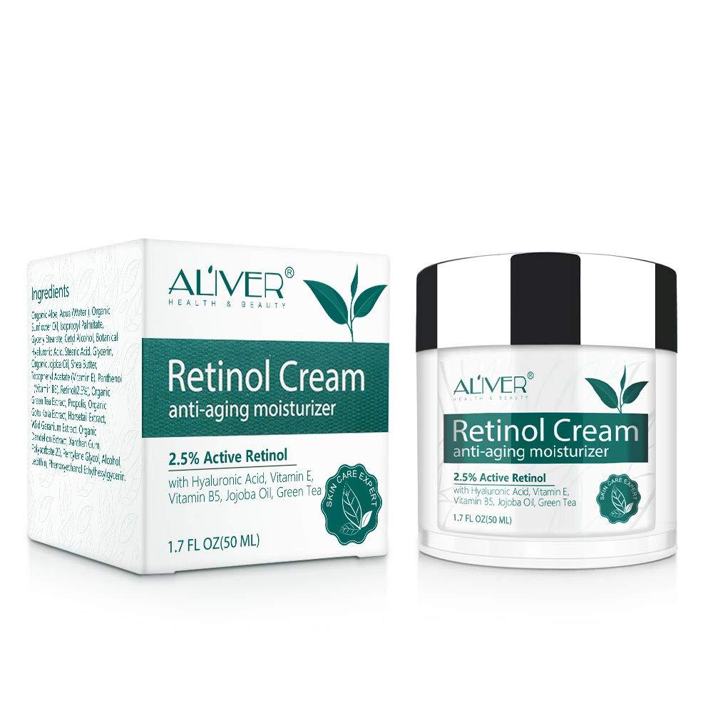 Anti-Aging Retinol Cream, Moisturizer Serum with Hyaluronic Acid, 2.5% Retinol Anti-Wrinkle Day Night Face Cream for Eye, Neck, Vitamin E and B5 Wrinkle Repair Serum