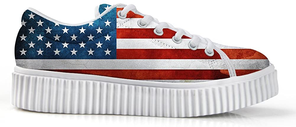 Zzjsstore Design Low Shoes 3D Printed American Flag Patterned Low Shoes are Suitable for Women's Leisure