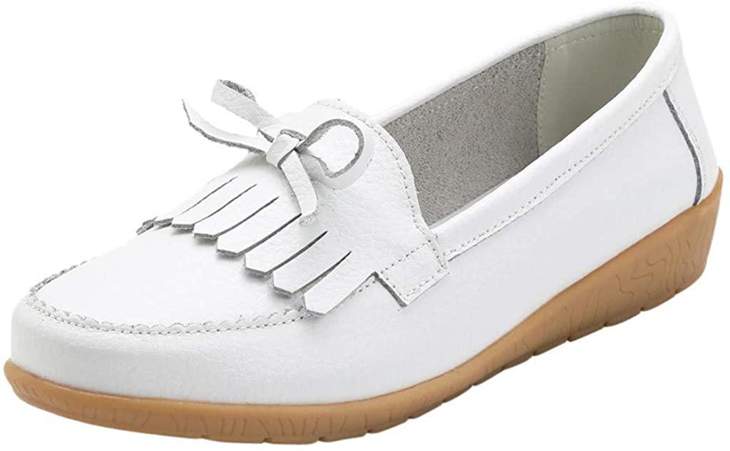 Loafers for Women,Meigeanfang Fashion Soft Bottom Flat Boat Shoes Tassel Leather Casual Women Shoes