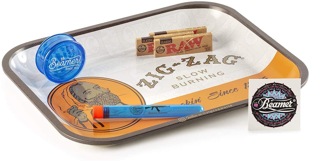 "6 Items - Zig Zag 14"" x 11"" Orange Metal Rolling Tray + 3 Packs Raw Natural 1 1/4 Papers + 3-Piece Beamer Acrylic Grinder + Beamer Doob Tube + Beamer Smoke Sticker…"