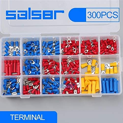 Onvas 300pcs Electrical Wire Crimp Terminals Assorted terminales Set Kit Insulated Terminator Spade Butt Connectors Red Yellow Blue
