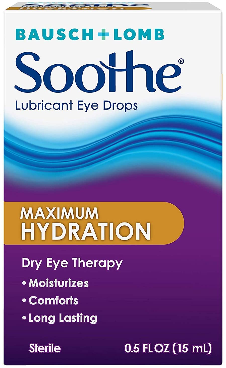 Bausch + Lomb Soothe Lubricant Eye Drops, Maximum Hydration 0.5 oz (Pack of 4)