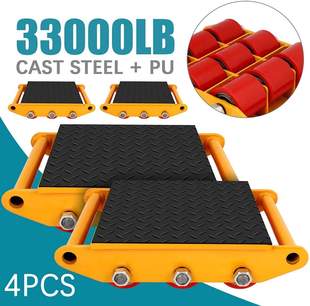 Machine Dolly Skate Industrial Machinery Roller Mover Cargo Trolley 15Ton 33000LBS Capacity with 360 Degree Rotation for Essential Moving 4PCS
