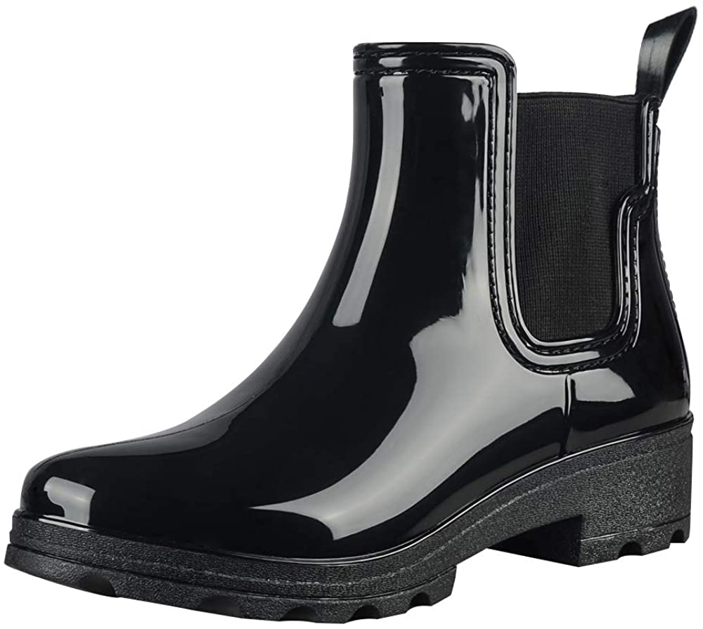 fazoc Rain Boots for Womens Girls Waterproof Non-Slip Rubber Ankle Rain Chelsea Booties(Black