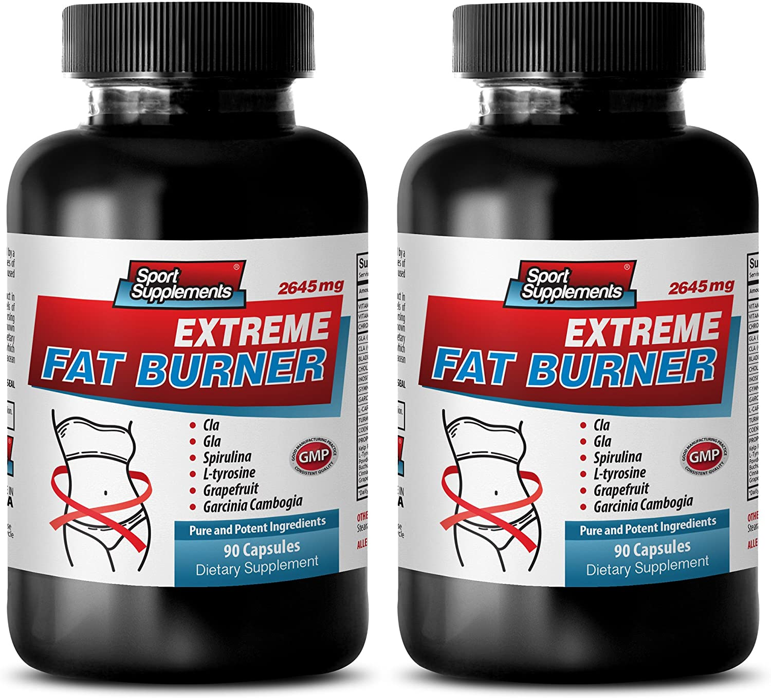 Fat Loss Pills - Extreme Fat Burner - 2643MG - Garcinia Diet Pills - 2 Bottle (180 Capsules)