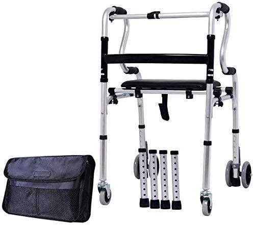LIAIJU-AIJU Wheelchair Thick Aluminum Alloy Walker with Wheels with Elderly Walking Frame/Trolley Walking Chair, Rear Wheel Can Bebraked, Height Adjustable