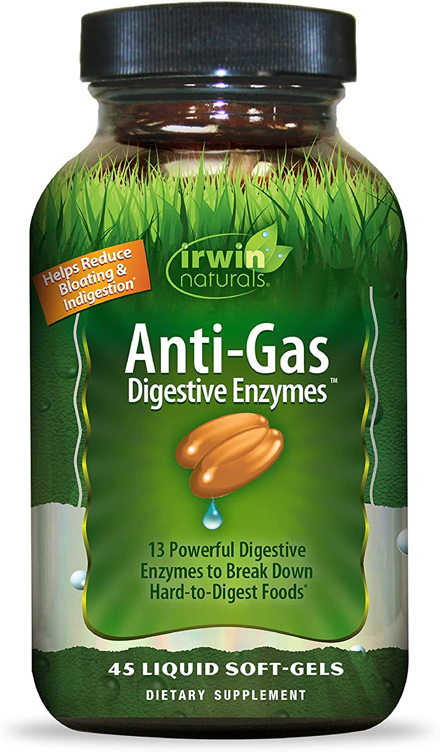 Irwin Naturals Anti-Gas Digestive Enzymes, Break Down Hard-to-Digest Food & Reduce Indigestion, 45 Liquid Softgels