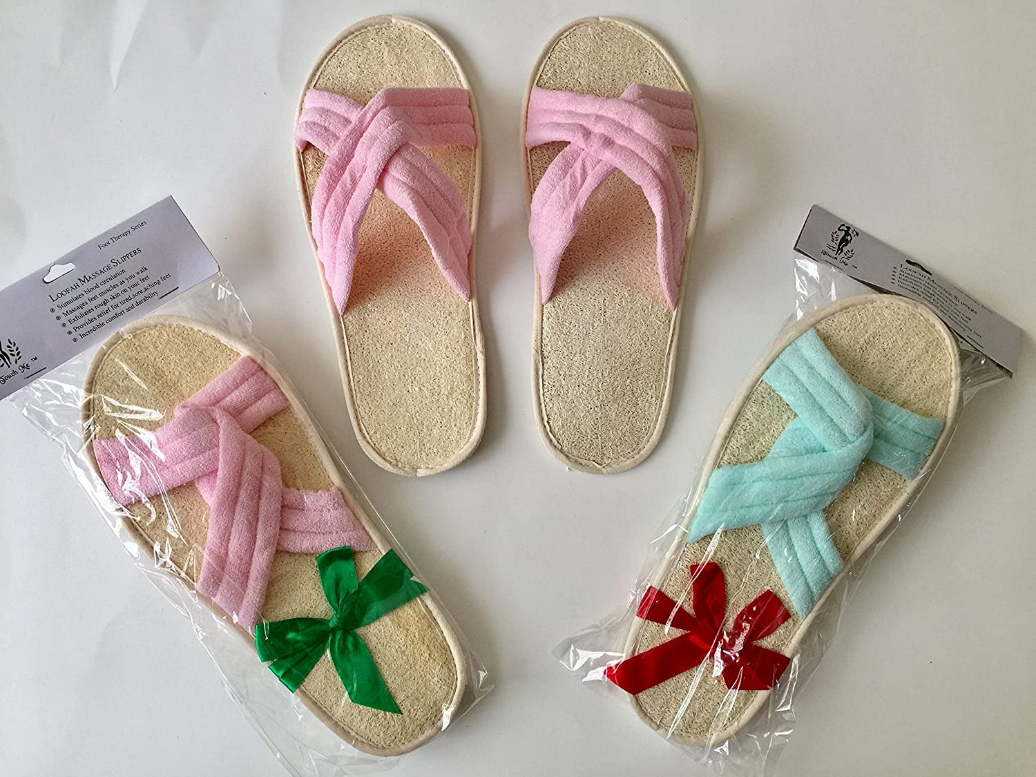 2 Pairs/Set Touch Me (TM) Natural Loofah Bath & Spa Massage Slippers - Criss Cross Slippers (Large (10-11))