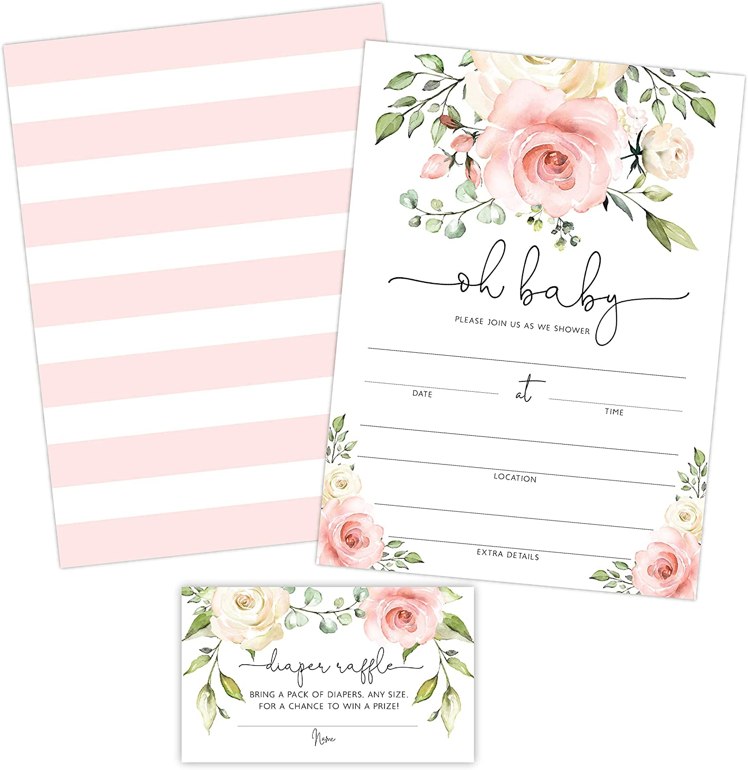 Floral Baby Shower Invitation, Blush Pink and White Rose Flowers Sprinkle Invites with Diaper Raffle Ticket Cards, 20 Count with Envelopes