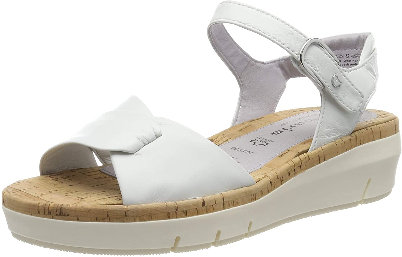 Tamaris Women's Platform Flatform Sandals, White White 100, US 7.5