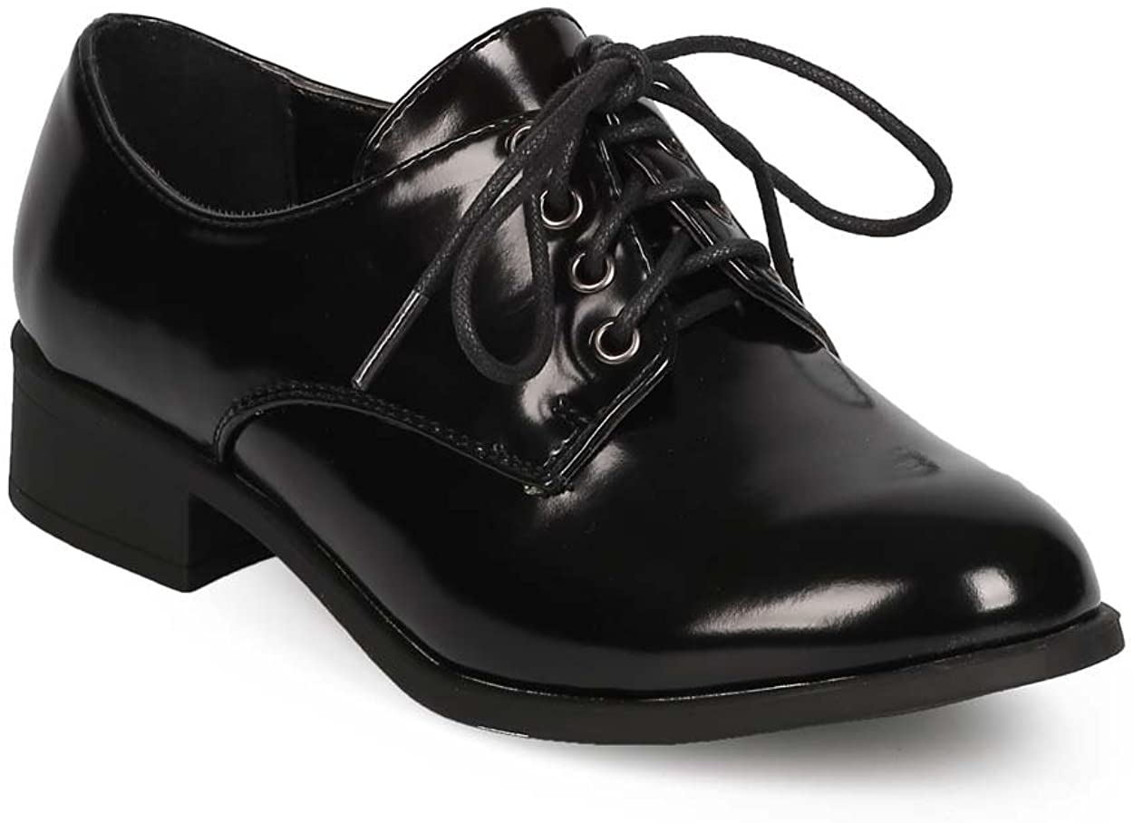 Women Polished Leatherette Classic Lace Up Oxford EC32 - Black