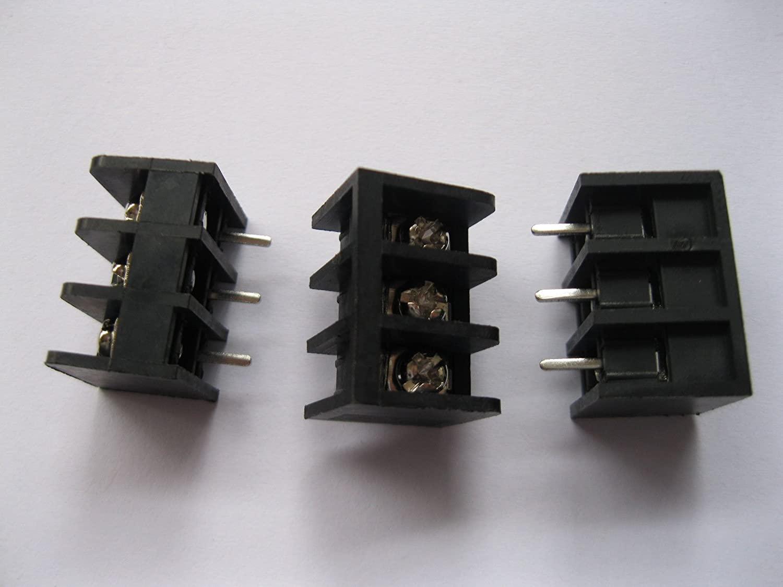 200 Pcs Barrier Type Black Color 3way/pin Pitch 6.35mm Screw Terminal Block Connector DC29B Skywalking