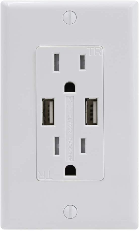 ESD Tech 3.4A USB Outlet Receptacle, Dual High Speed USB Wall Charger Plug, 15 Amp Tamper Resistant Duplex Decorator, Fast Charge, Self-Grounding, UL Listed, Includes Wall Plate.