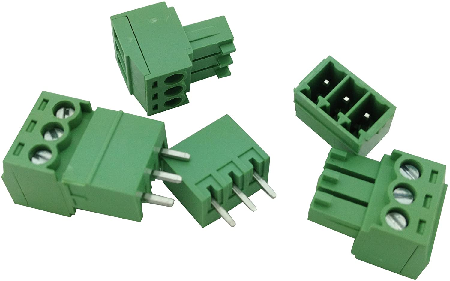 50 Pcs Pitch 3.81mm 3way/pin Screw Terminal Block Connector w/Straight-pin Green Color Pluggable Type Skywalking