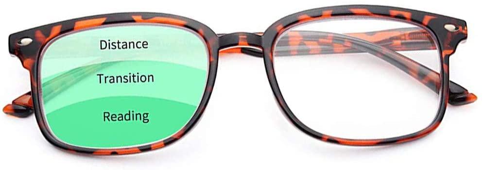 Progressive Multifocus Reading Glasses Blue Light Blocking for Women Men,No Line Multifocal Readers with Spring Hinge
