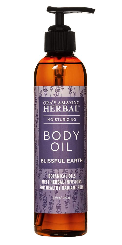 Body Oil for Dry Skin, Bath Oil For Relaxation, Blissful Earth Essential Oil Scent with Lavender Vetiver and Clary Sage, Skin Care, Ora's Amazing Herbal