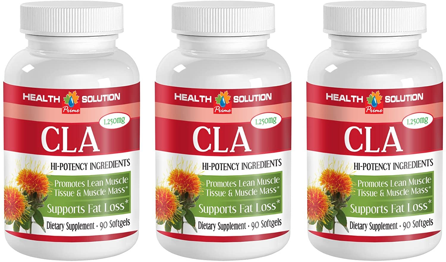 Safflower Oil Capsules - CLA 1250mg - Accelerate Weight Loss (3 Bottles)