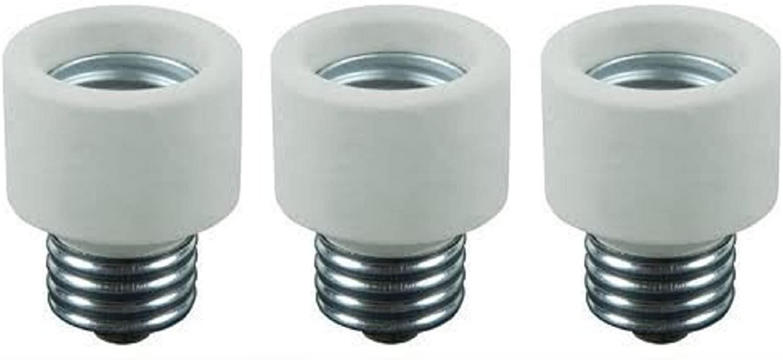 Pack Of 3 Medium Base To Medium Base Light Bulb Socket Porcelain Extender / E26 1 Inch Extension Adapter
