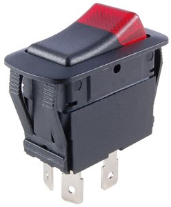 NTE Electronics 54-248W Waterproof Miniature Illuminated Rocker Switch, SPDT Circuit, ON-Off-ON Action, PC Red Neon Actuator, 0.250