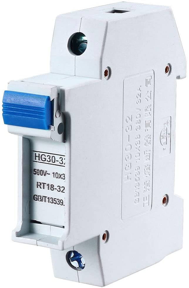 uxcell DIN Rail Mount Fuse Holder Single Pole HG30-32 for RT14 RT18 Fuse Gray