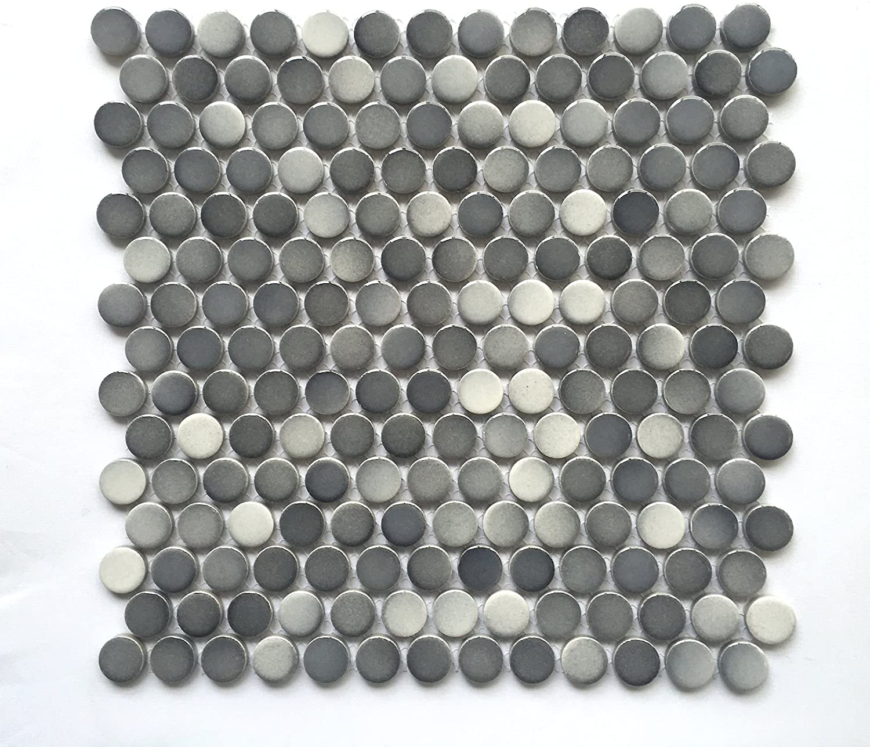 3/4 X 3/4 Penny Round Grey Glossy Finish Porcelain Mosaic (11 Pcs. Per case)