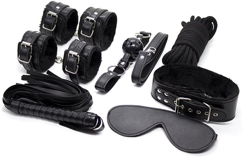 Yufengs 7-in-1 Restraint Kit, Plush Leather Wrist and Ankle Cuffs Handcuffs Mask Floggers SM Bed Bondage Kit