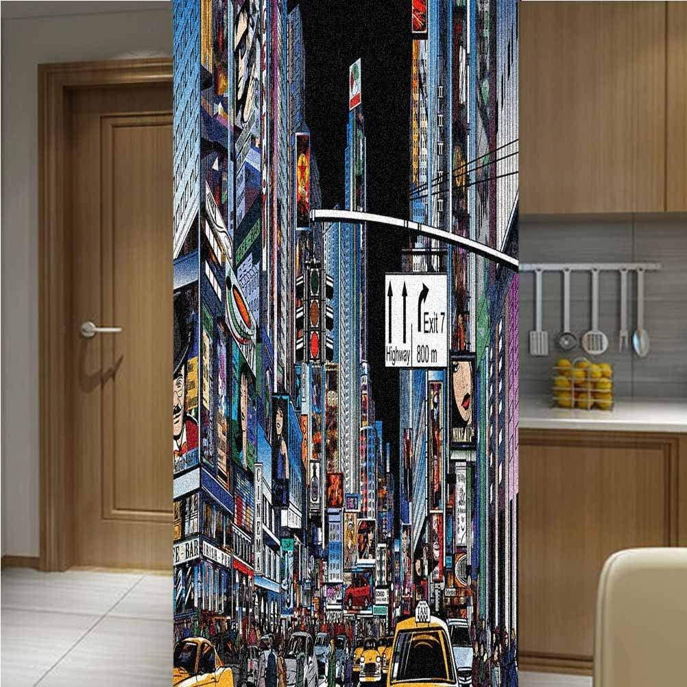 City 3D Decorative Window Vinyl Glass Film,One Piece 17.7x70